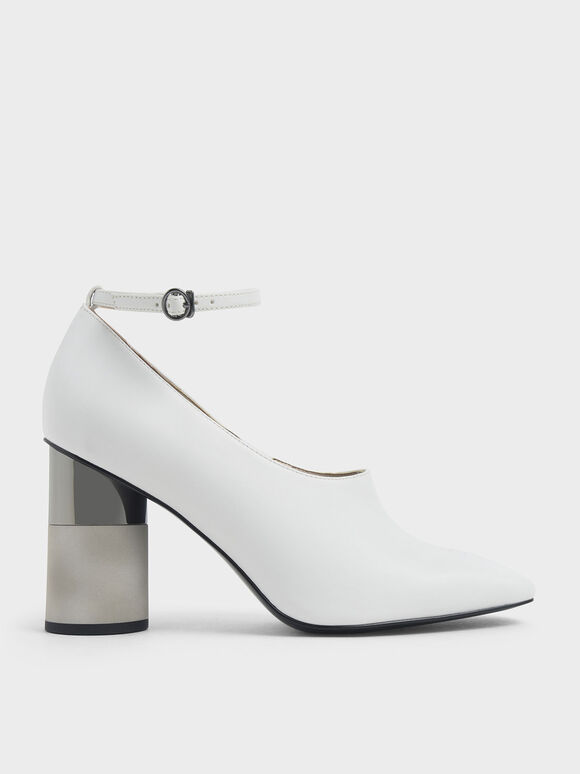 Ankle Strap Concrete Heel Pump, White, hi-res
