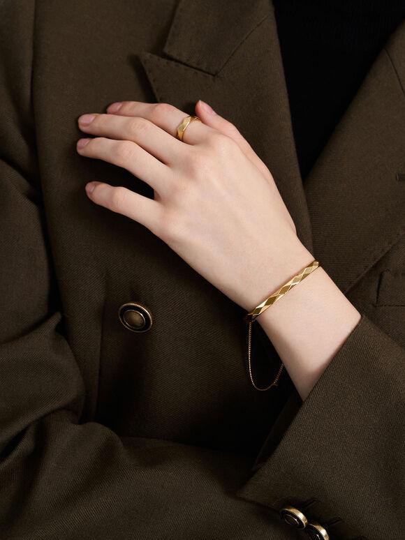 Geometric Cuff Bracelet, Gold, hi-res