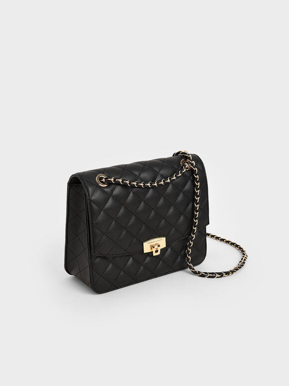 Quilted Chain Strap Clutch, Black, hi-res