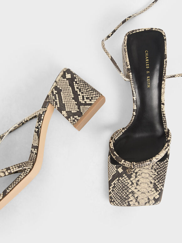 Snake Print Lace Up Block Heel Sandals, Multi, hi-res