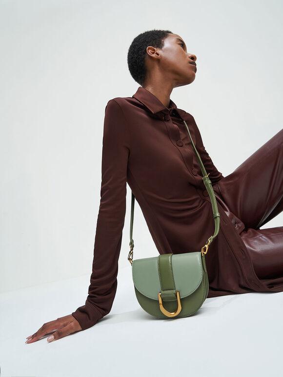 Gabine Two-Tone Saddle Bag, Olive, hi-res