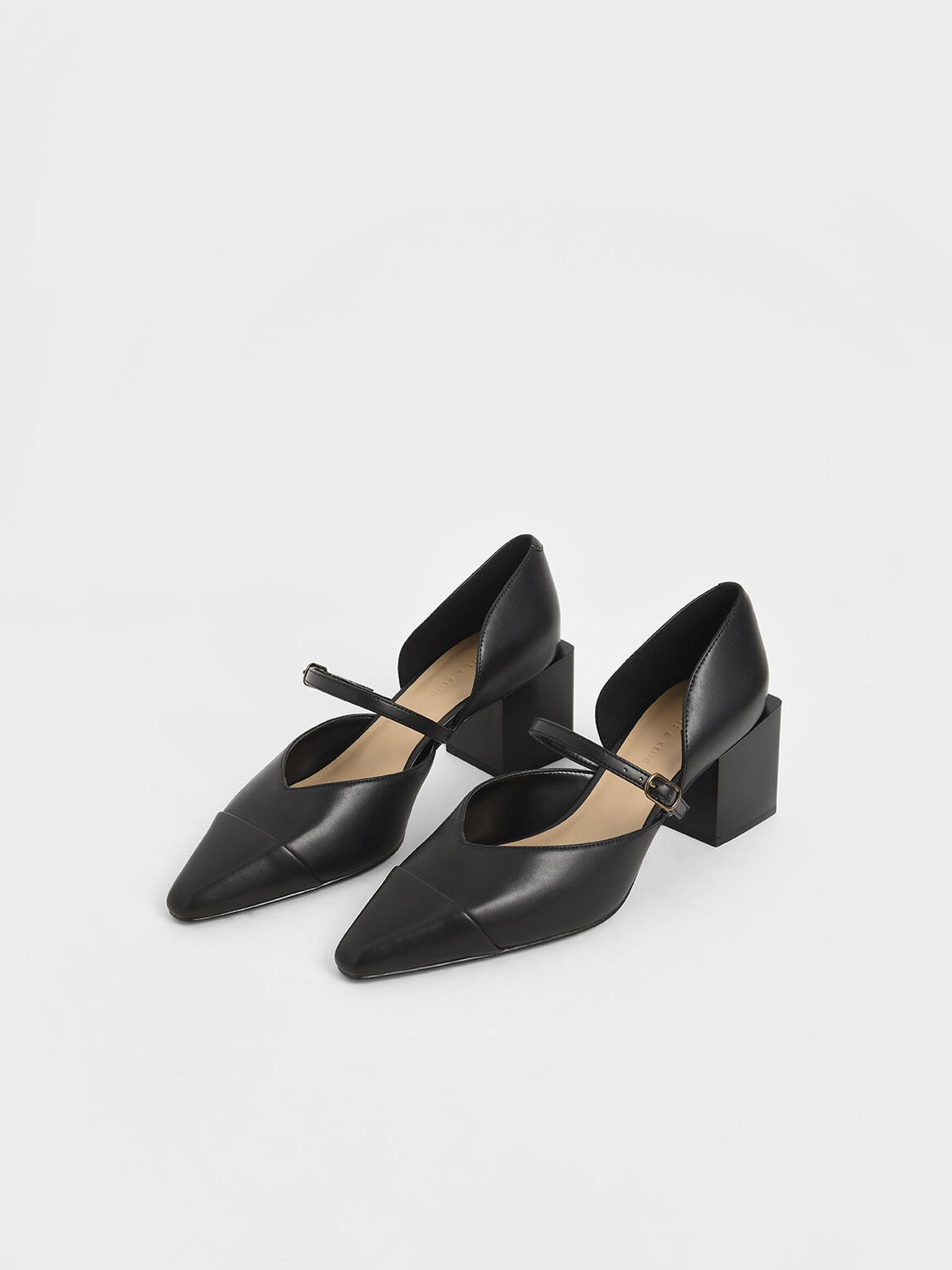 Mary Jane Block Heel Pumps, Black, hi-res
