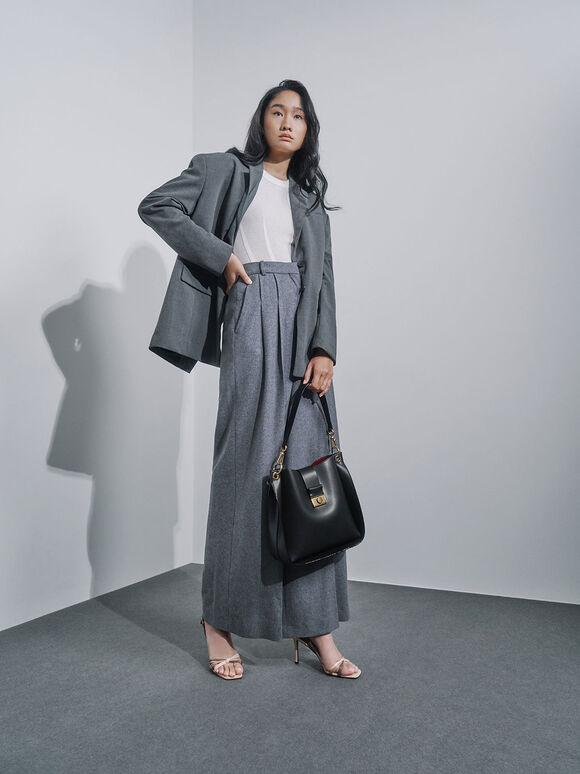 Push-Lock Bucket Shoulder Bag, Black, hi-res