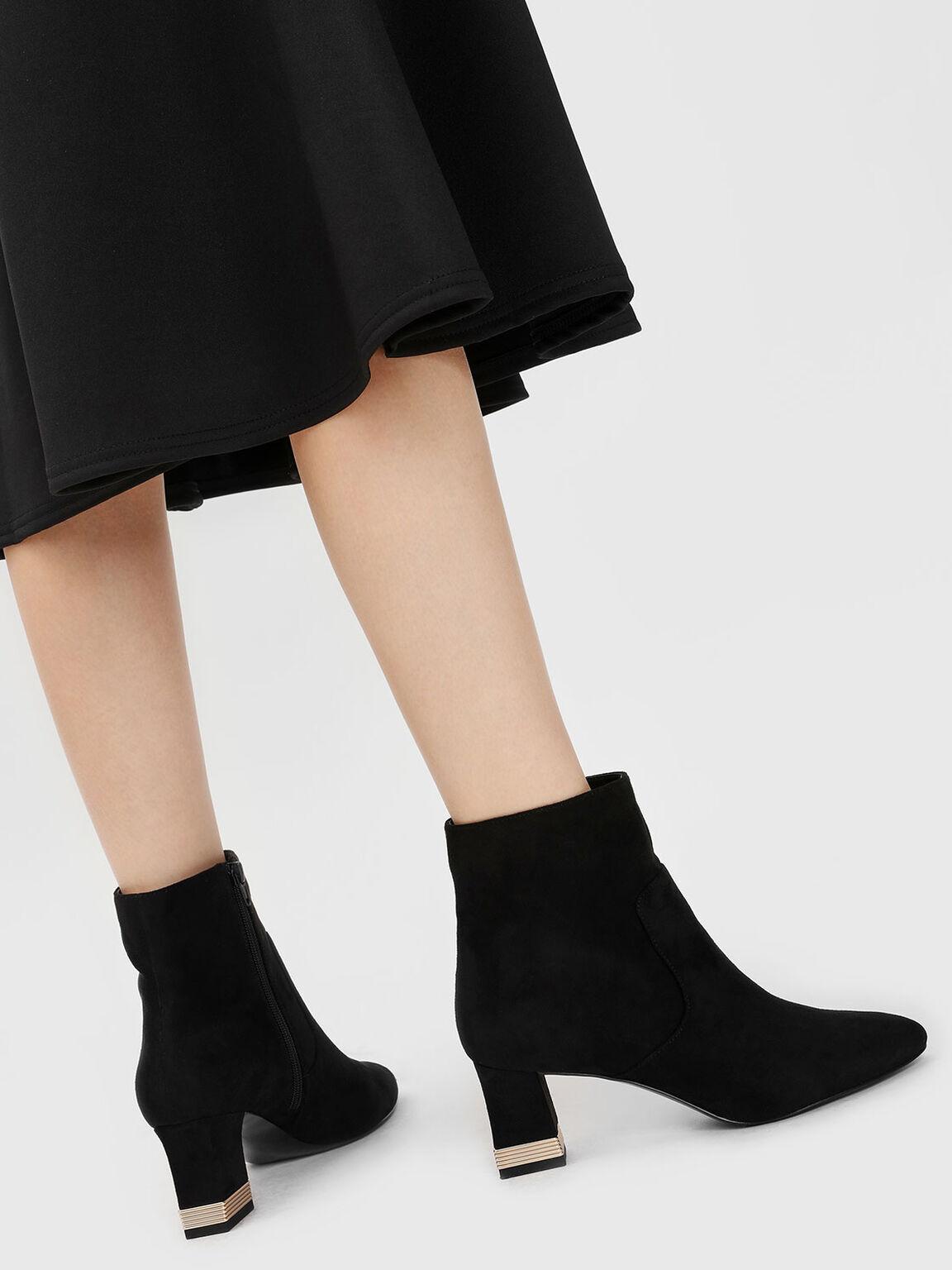 Metallic Accent Heel Boots, Black, hi-res