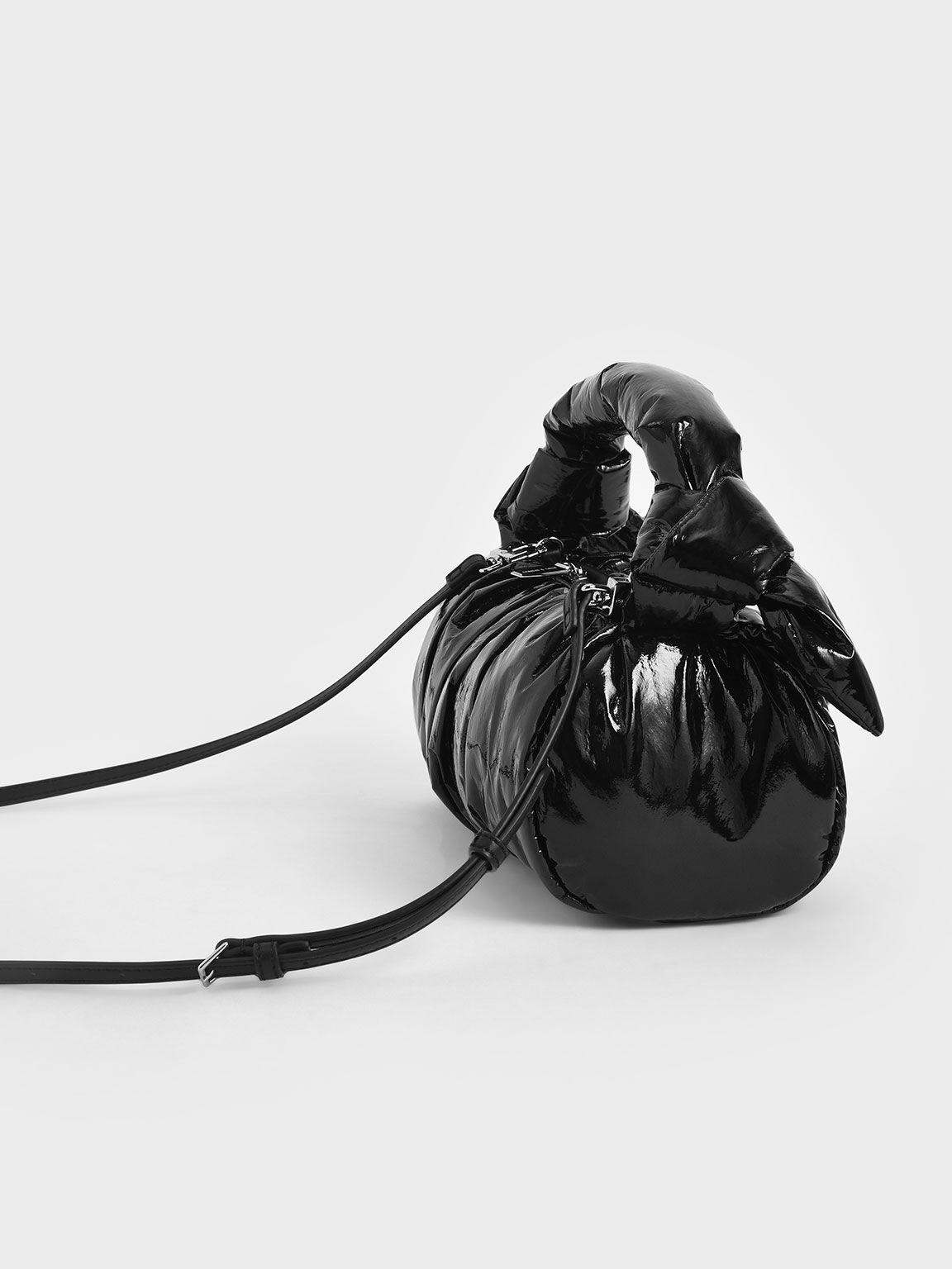 Patent Knotted Shoulder Bag, Black, hi-res
