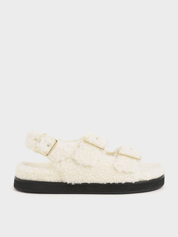 Recycled PET - Furry Flat Sandals, Chalk, hi-res