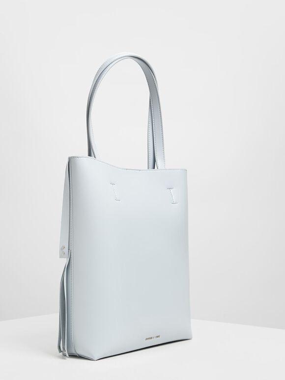 Full Fringe Tote Bag, Light Blue, hi-res