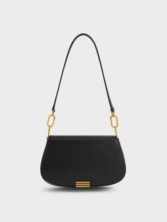 Metallic Accent Small Shoulder Bag, Black, hi-res