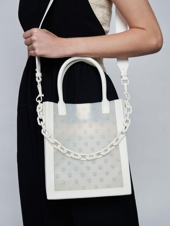Chain Link Tote Bag, White, hi-res