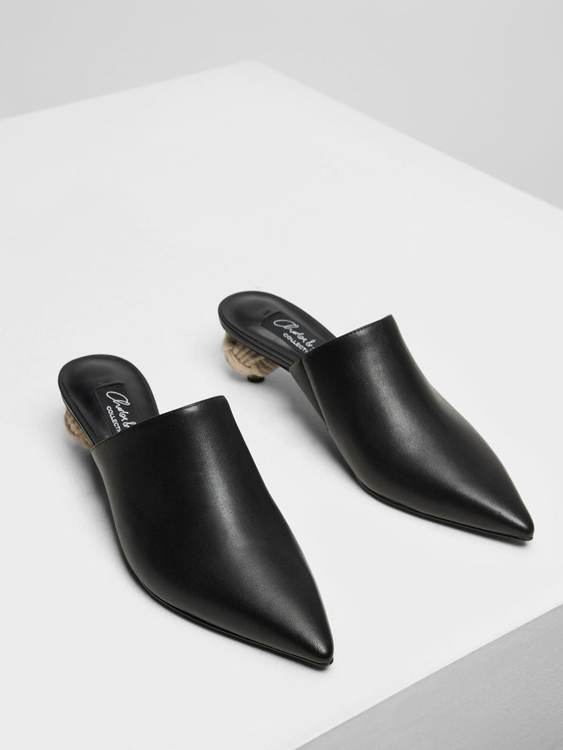 Spherical Heel Leather Mules, Black, hi-res
