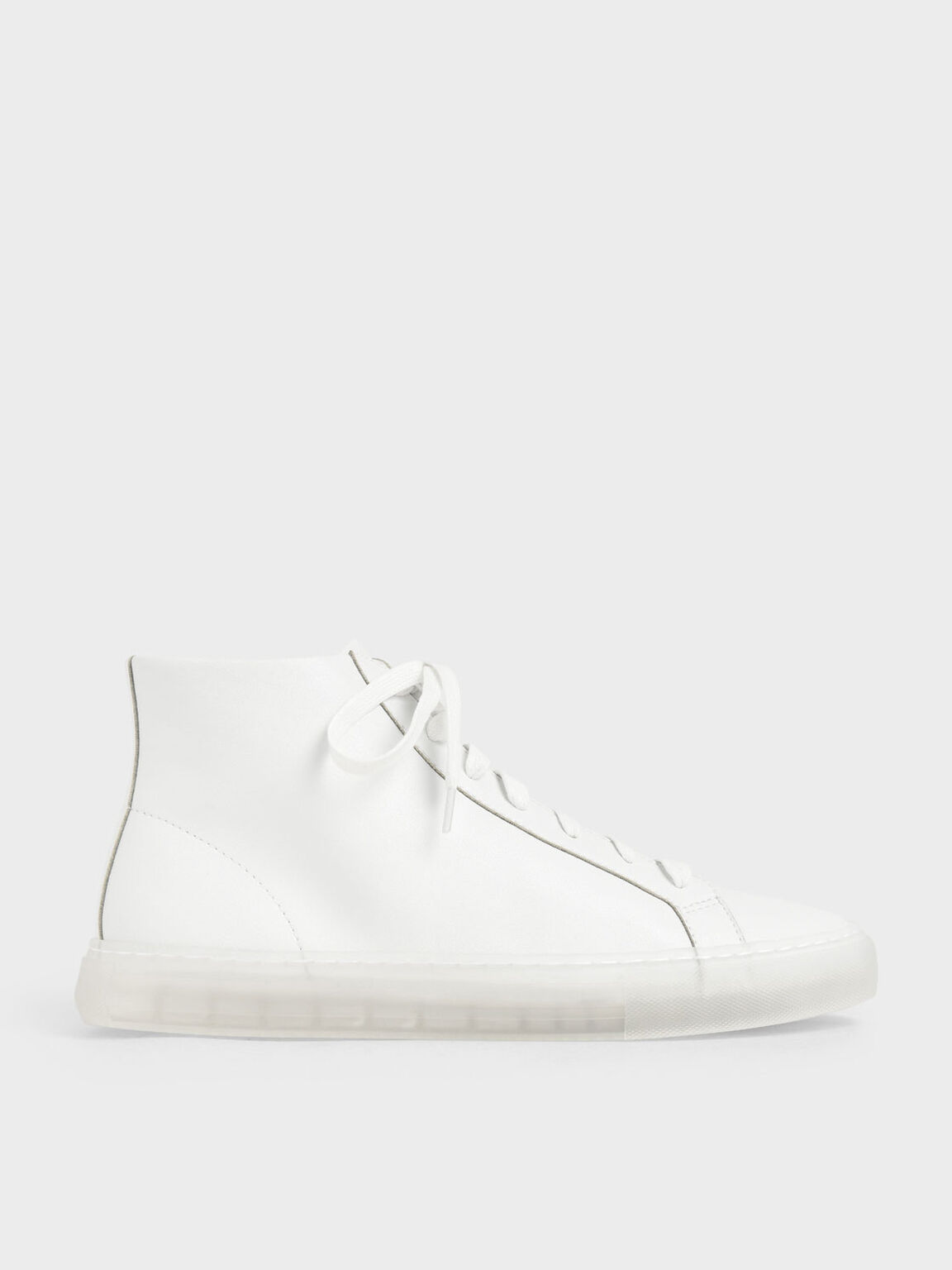 Clear Sole High Top Sneakers, White, hi-res
