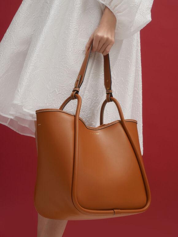 Circle Handle Tote Bag, Cognac, hi-res