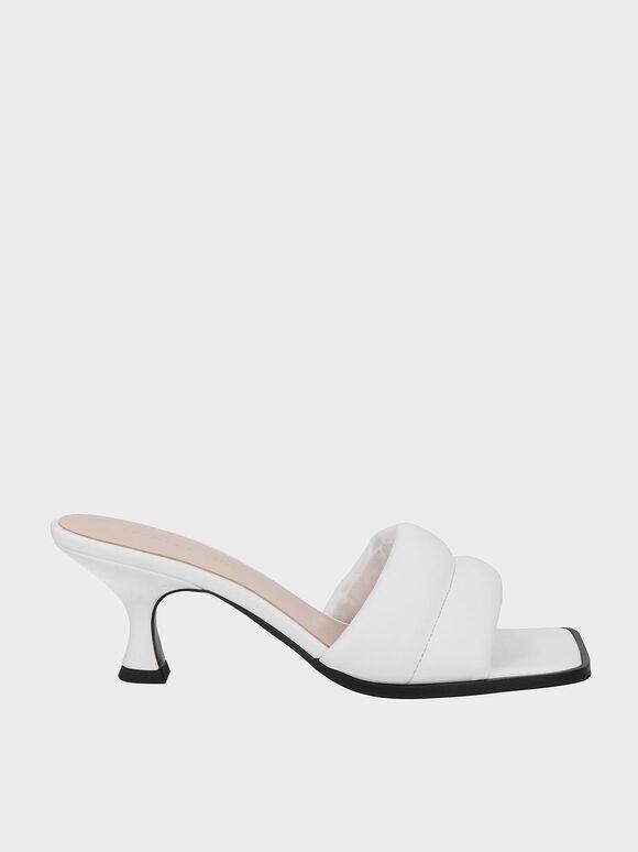 Padded Square Toe Mules, White, hi-res