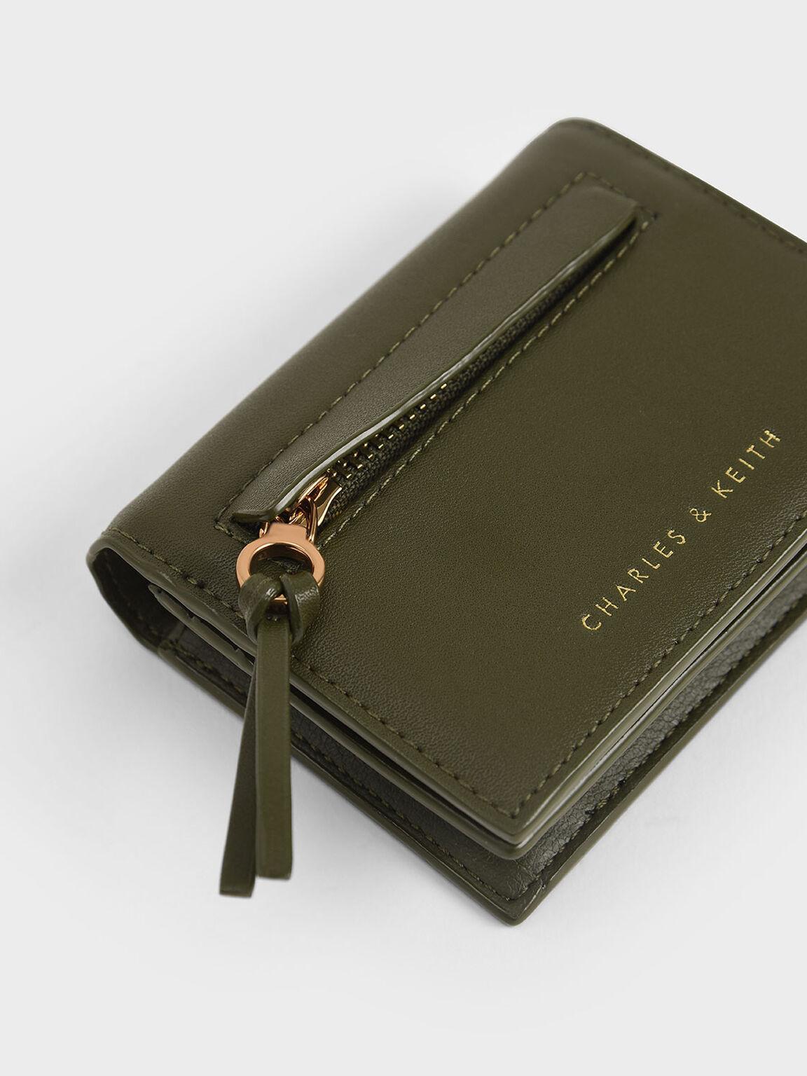 Snap Button Card Holder, Olive, hi-res