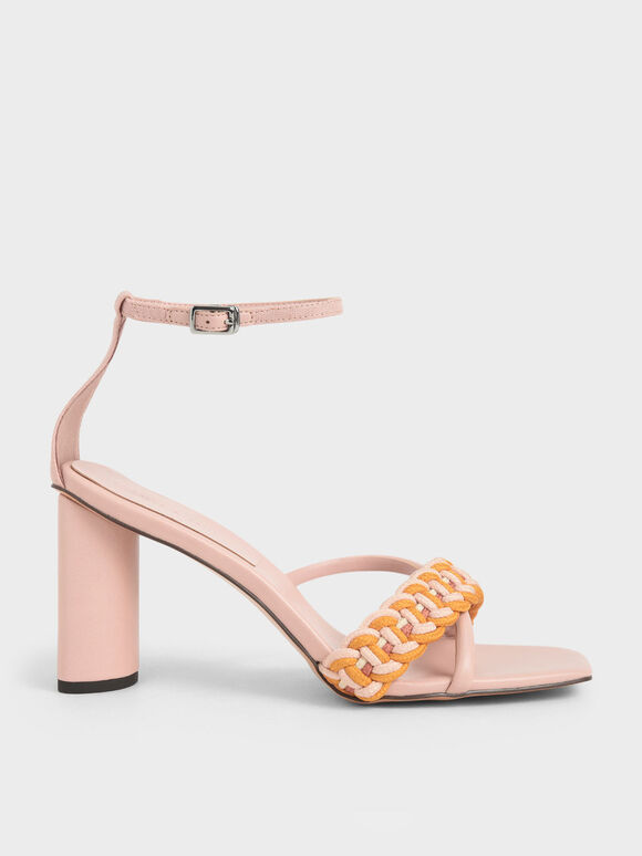 Rope Cylindrical Heeled Sandals, Nude, hi-res