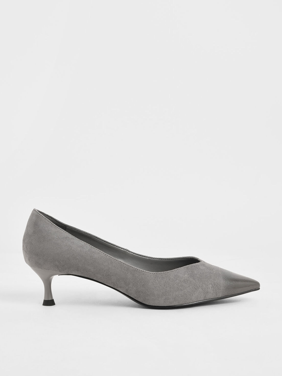 Brushed Effect Textured Sculptural Heel Pumps, Grey, hi-res