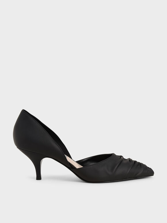 Ruched D'Orsay Court Shoes, Black, hi-res