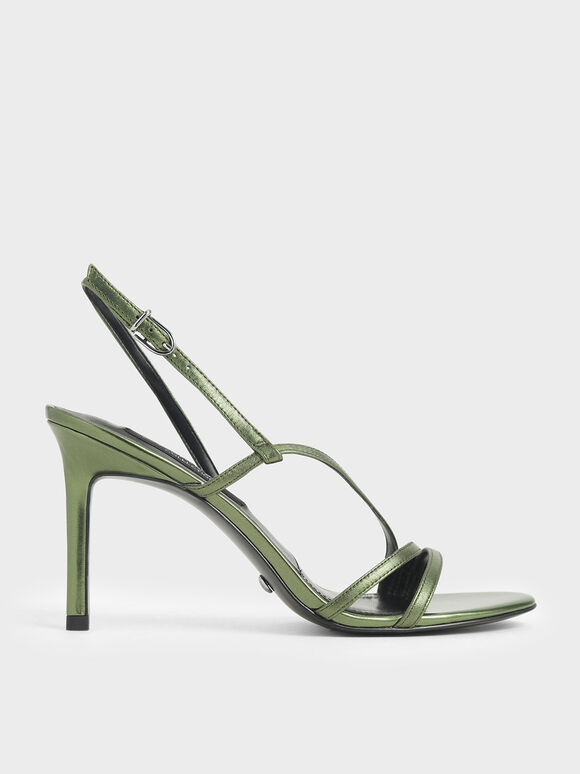 Patent Leather Strappy Heeled Sandals, Green, hi-res