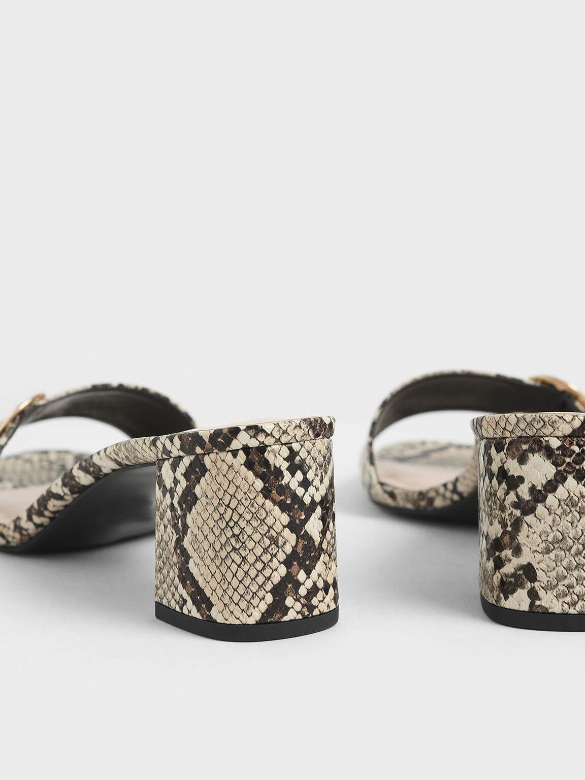 Oversized Buckle Snake Print Slide Sandals, Grey, hi-res