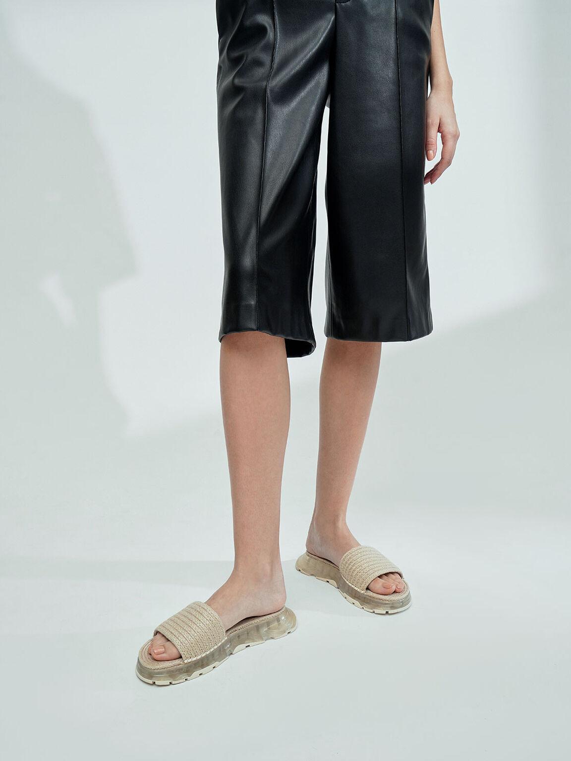Espadrille Flatform Sandals, Cream, hi-res