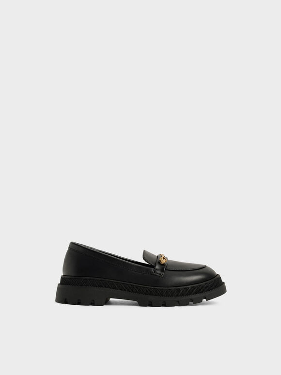 Girls' Metallic Accent Penny Loafers, Black, hi-res
