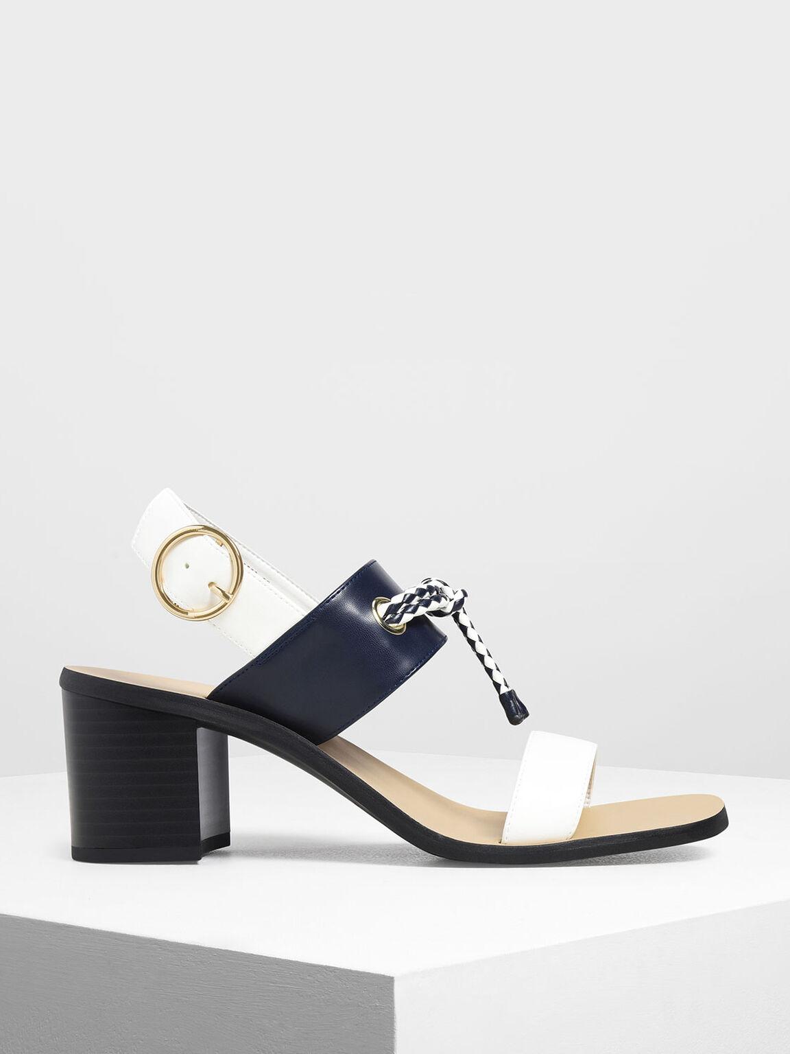 Braided Knot Block Heel Sandals, White, hi-res
