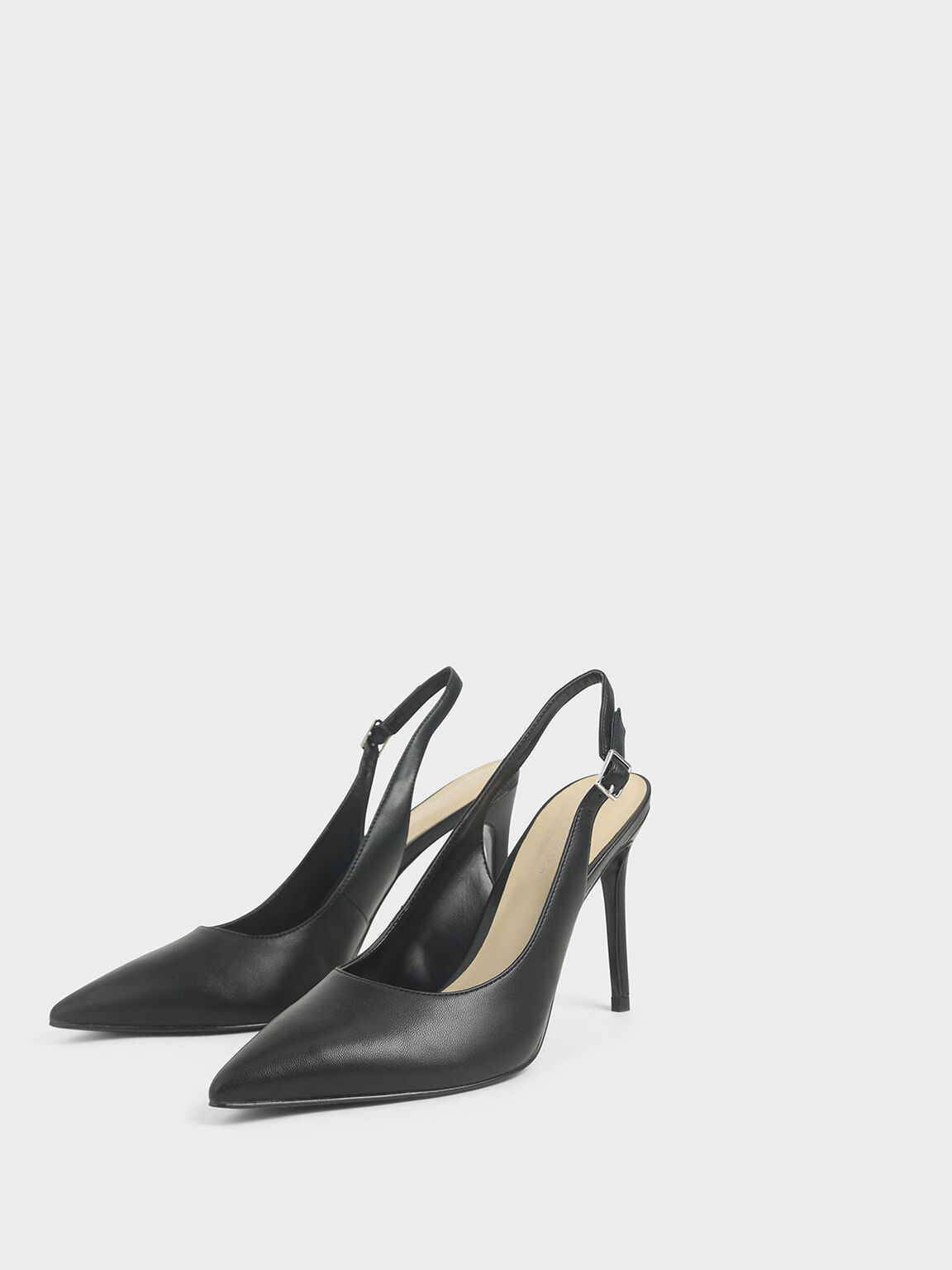 Stiletto Slingback Pumps, Black, hi-res