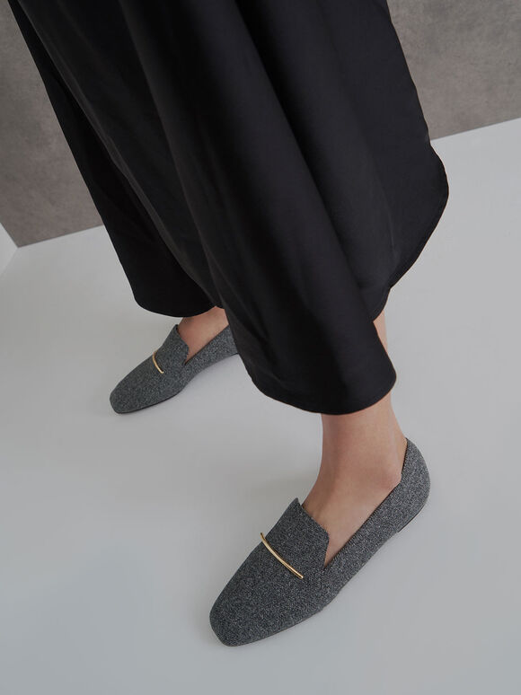 Woven Fabric Embellished Loafers, Dark Grey, hi-res
