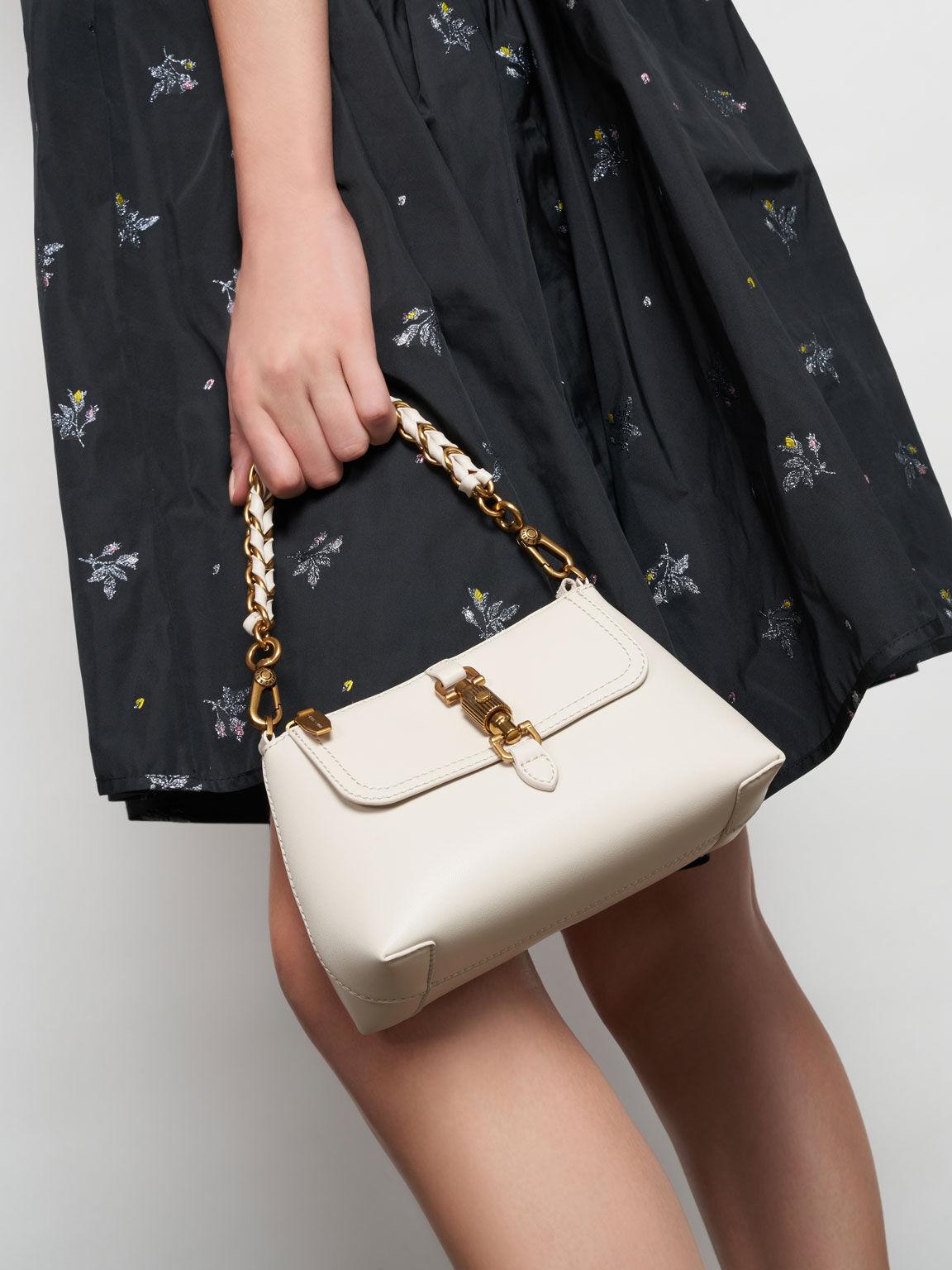 Chain Handle Bag, Cream, hi-res