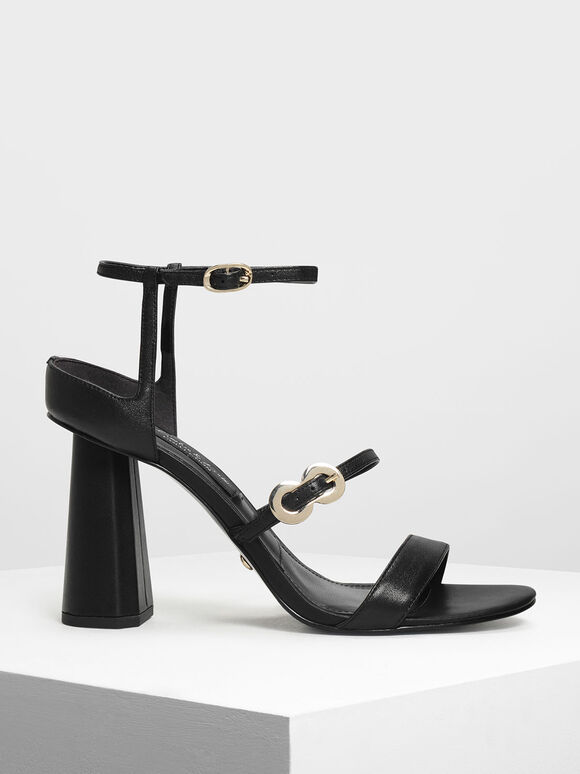 Leather Infinity Buckle Open Toe Sandals, Black, hi-res