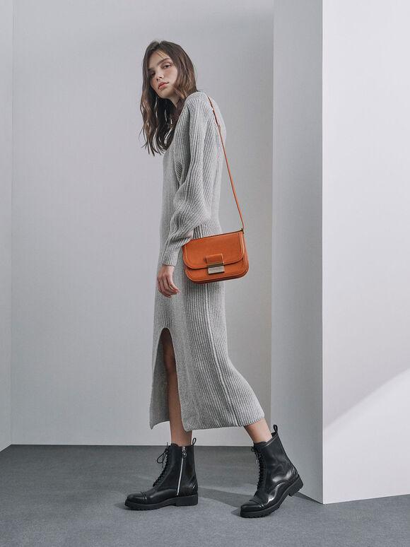 Metallic Push-Lock Crossbody Bag, Orange, hi-res