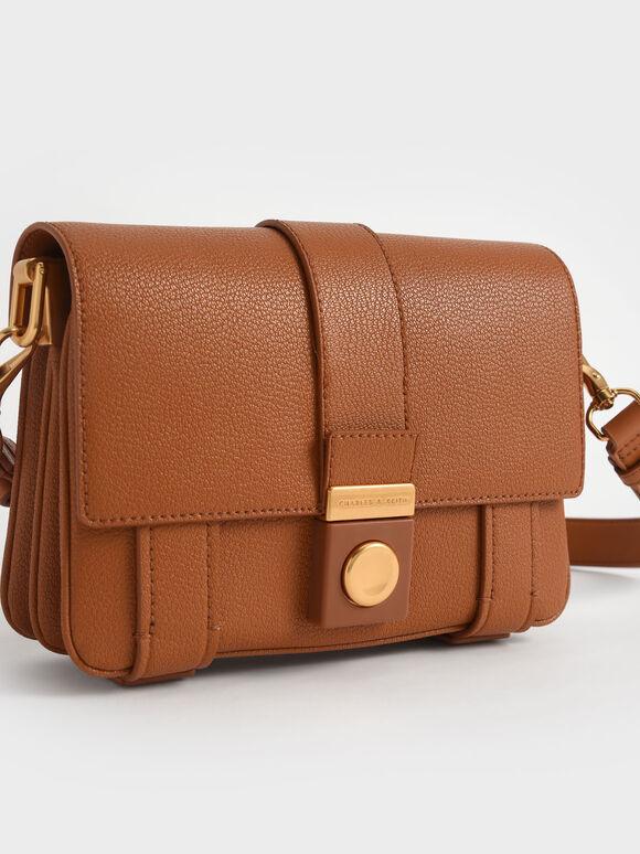 Metallic Push-Lock Shoulder Bag, Cognac, hi-res
