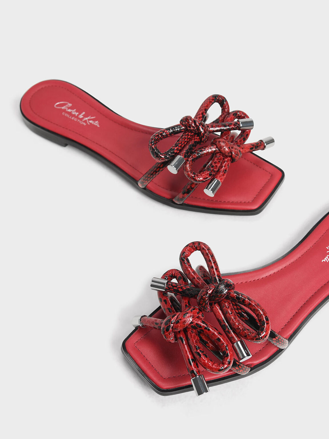 Snake Print Double Bow Slide Sandals, Red, hi-res