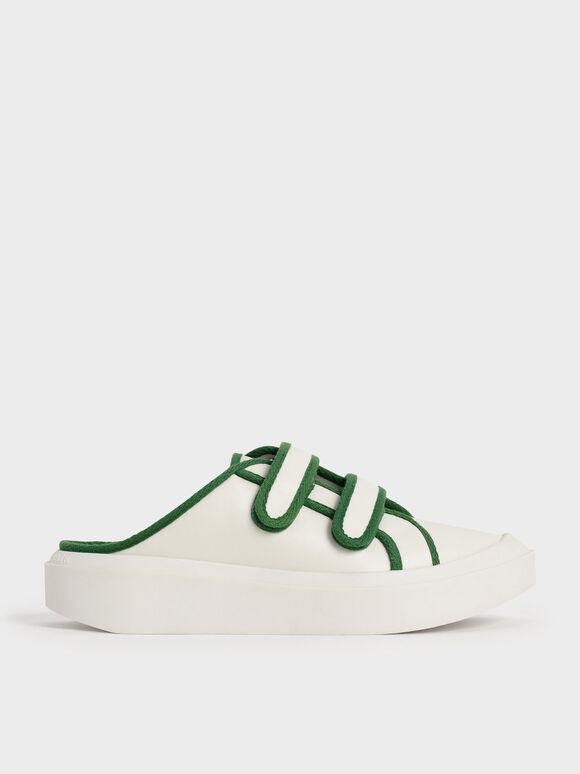 Two-Tone Velcro Sneaker Mules, Green, hi-res