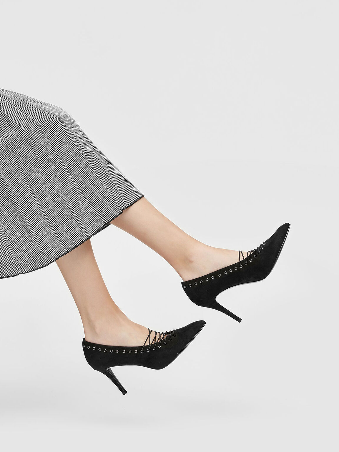 Lacing Detail Court Shoes, Black, hi-res