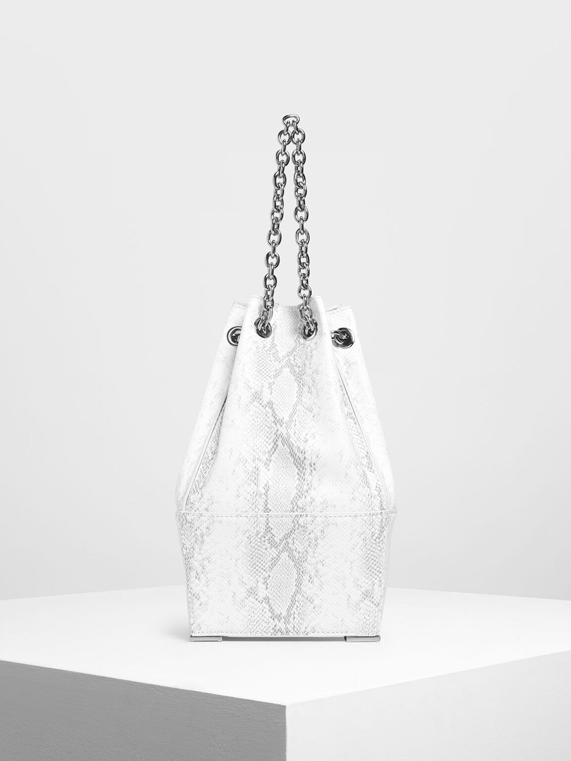 Chain Handle Snake Print Bucket Bag, White, hi-res
