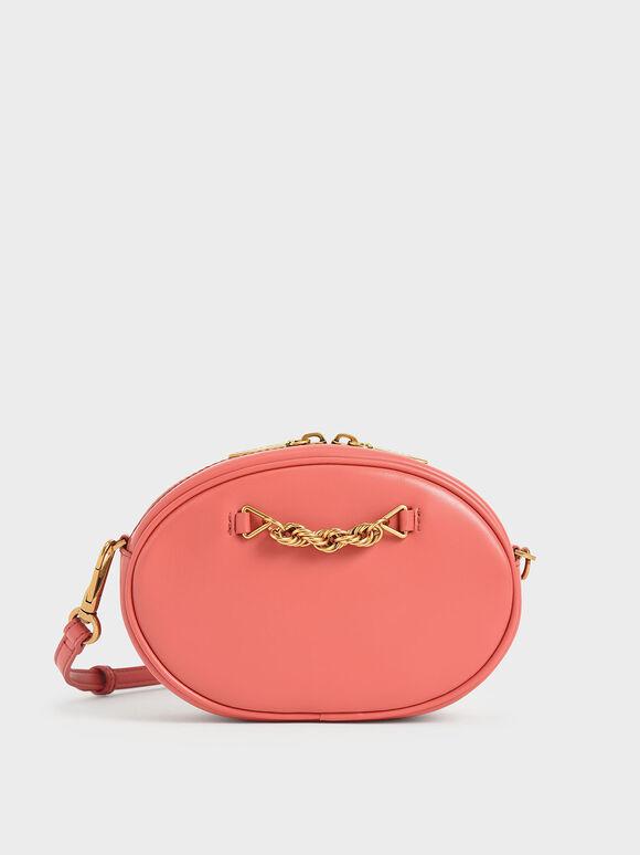 Chain-Embellished Oval Crossbody Bag, Coral, hi-res