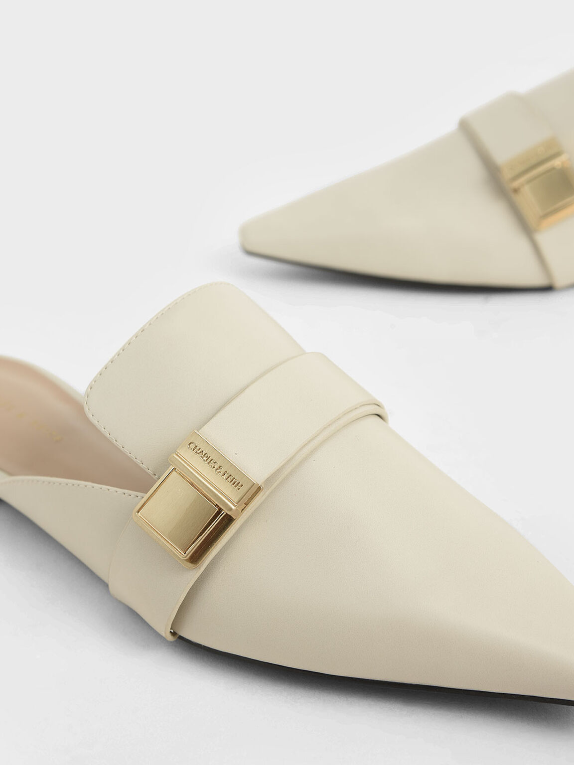 Buckle Loafer Mules, Chalk, hi-res