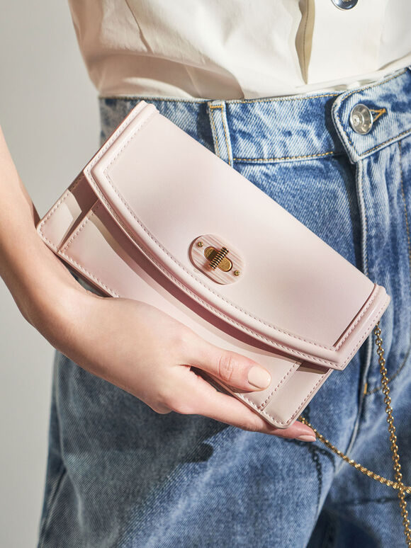 Stone-Embellished Curved Long Wallet, Pink, hi-res
