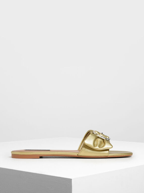 Ruched Two-Tone Buckle Slide Sandals, Gold, hi-res