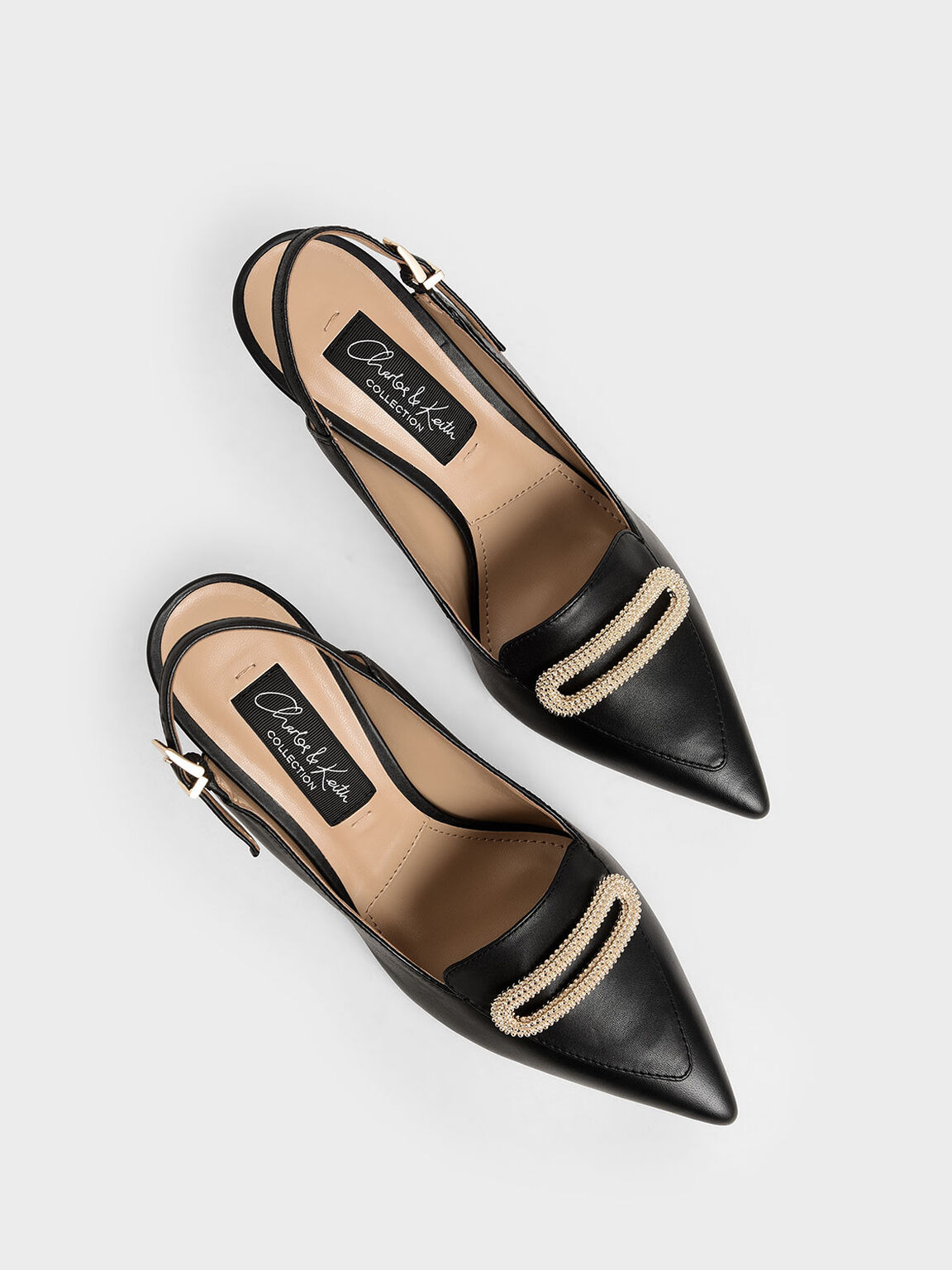 Leather Metallic Accent Pumps, Black, hi-res