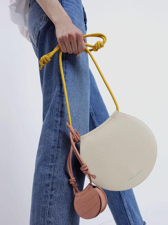 Croc-Effect Necklace Bag, Pink, hi-res