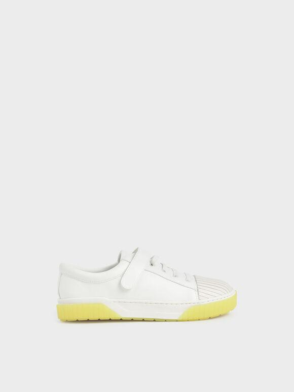 Girls' Platform Sneakers, White, hi-res