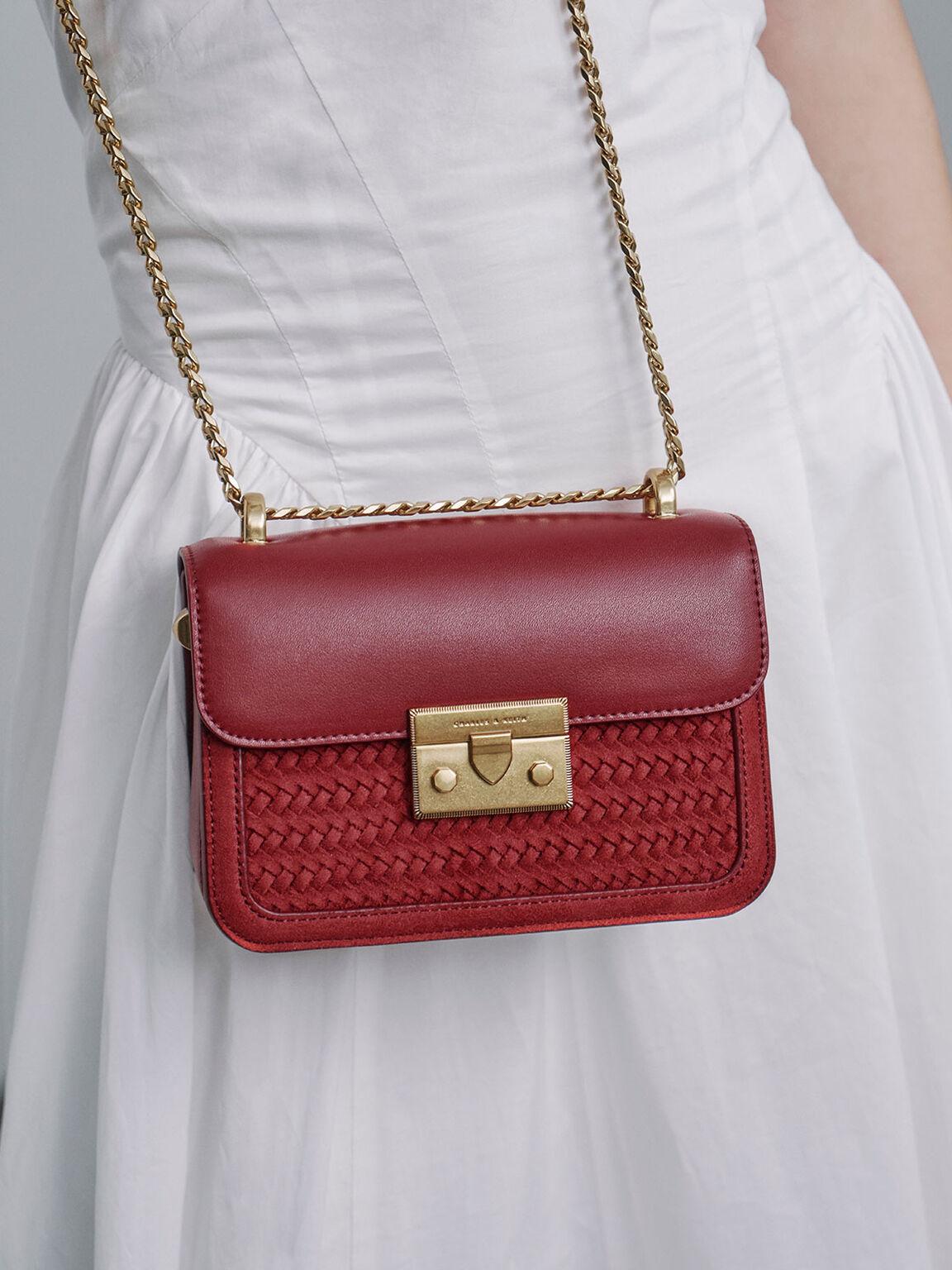 Textured Metallic Push-Lock Crossbody Bag, Red, hi-res