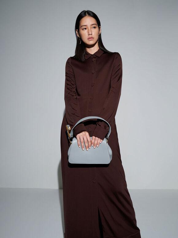 Buckle Detail Shoulder Bag, Steel Blue, hi-res