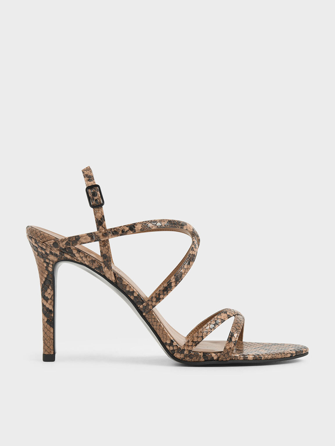 Snake Print Criss Cross Strappy Stiletto Heels, Brown, hi-res