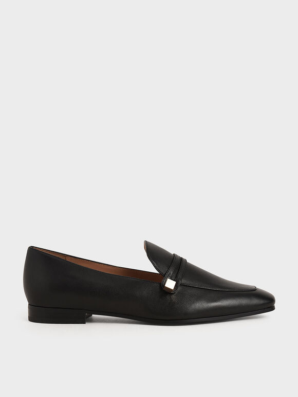 Metallic Accent Leather Loafers, Black, hi-res