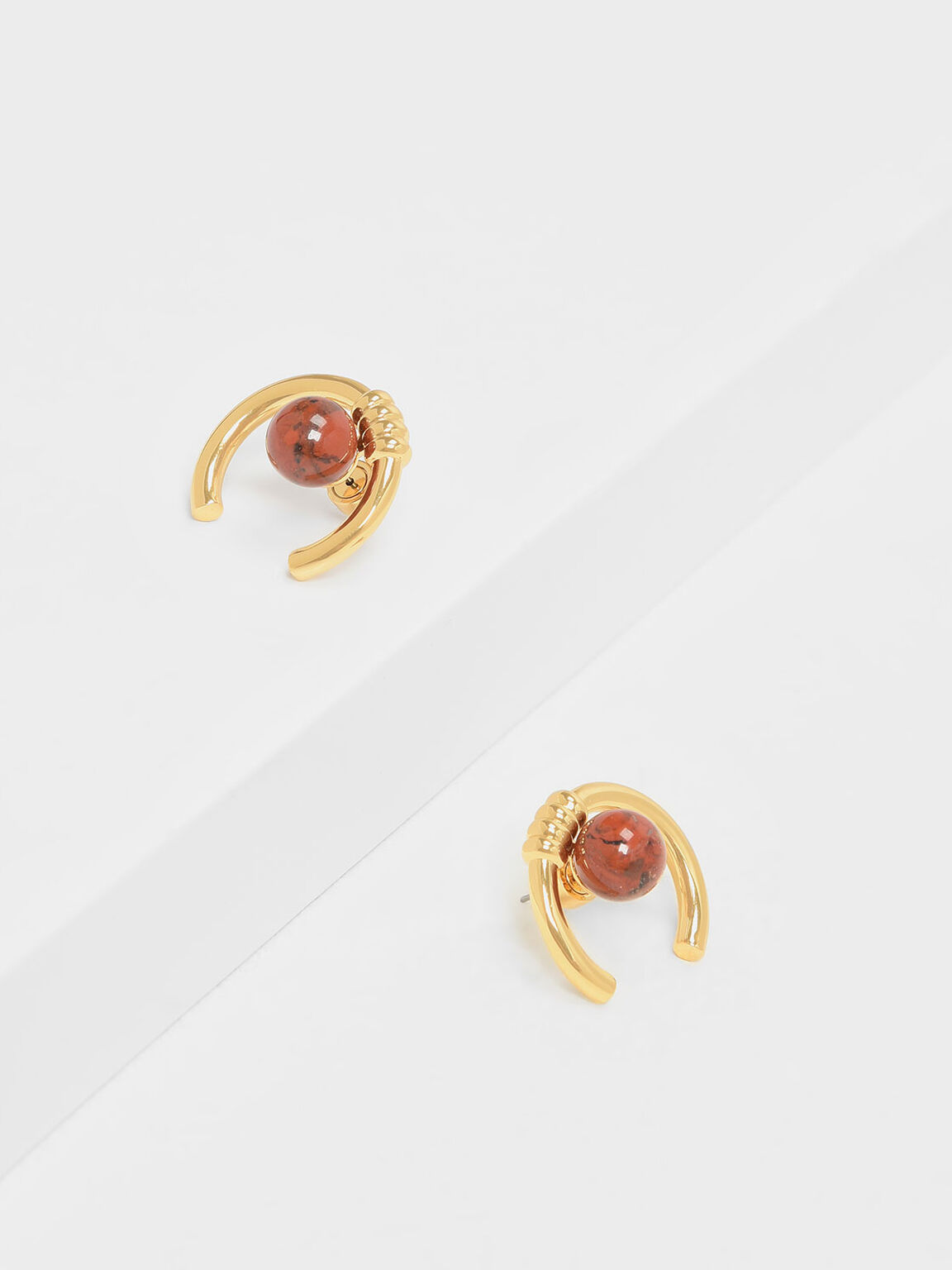Jasper Stone Stud Earrings, Gold, hi-res