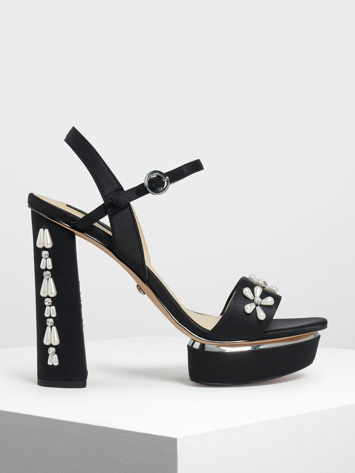 Floral Embellished Satin Platforms, Black, hi-res