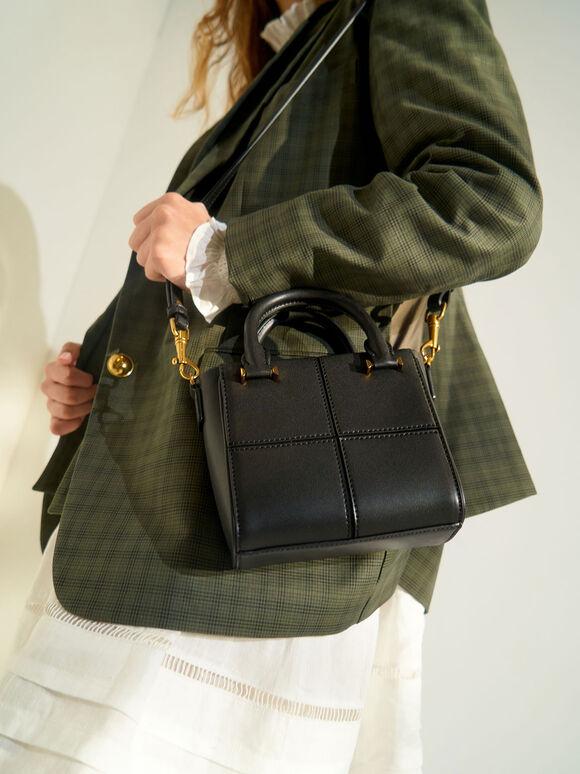 Textured Panelled Top Handle Bag, Black, hi-res